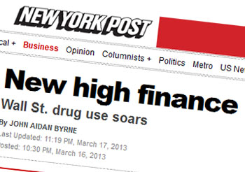 New high finance Wall St. drug use soars